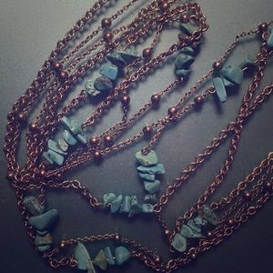 Vintage turquoise double chain necklace